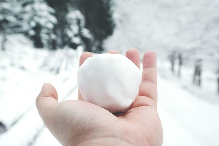 Cropped Hand With Snowball During Winter