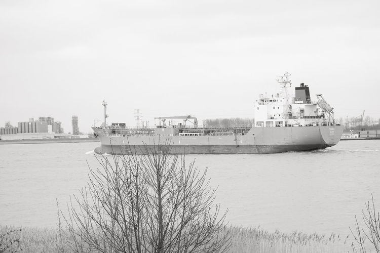 Doel, Antwerp, Belgium – February 2019: Large cargo ship leaving the Antwerp harbor heading for the open sea in black and white Water Nautical Vessel Sky Architecture Built Structure Building Exterior Nature Day Sea Ship Transportation No People Mode Of Transportation Cold Temperature Winter Outdoors Plant Waterfront Cruise Ship Passenger Craft