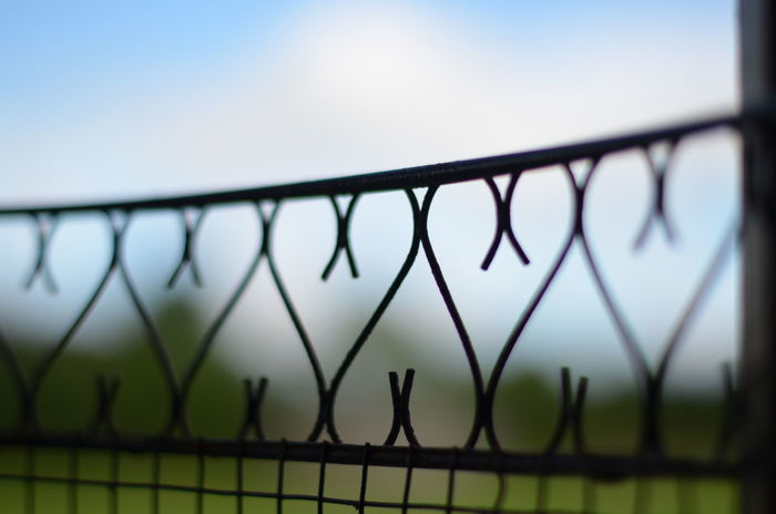 Balustrade Barrier Close-up Coeur  Day Detail Fence Focus On Foreground Heart Love Metal Nature Outdoors Railing Separation Sky Sky And Clouds