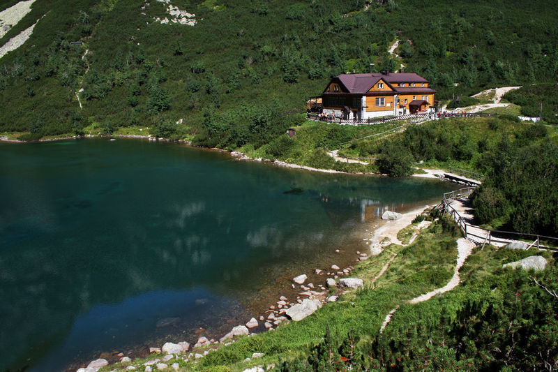Clear Sky Hiking Tatra Mountains Tatry The Week On EyeEm Vysoke Tatry Zelene Pleso Zielony Staw Architecture Beauty In Nature Cabin Green Lake High Tatras Hut Lake Mountain Cabin Mountain Hut Mountain Shelter Mountains Nature No People Outdoors Path In Nature Pathway Scenics