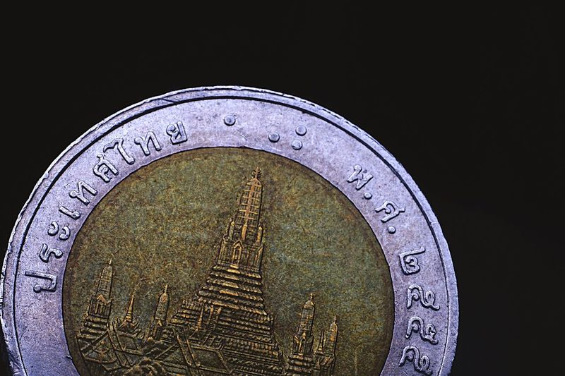 Thai Ten baht coin Circle Close-up Black Background Indoors  Object Macro Coin Money Business Business And Finance Finance Thailand Thai Coin Thai Money Black Background Macro Photography Temples Temple Art Temple Print