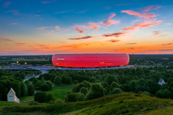 Famous football stadium Allianz Arena in Munich, Bavaria, Germany, Europe Oberbayern Deutschland Germany🇩🇪 Fussball Soccer Stadion Stadium Bayern Upper Bavaria Bavaria München Munich Allianz Arena Allianz Alliance Arena No People Outdoors Sky
