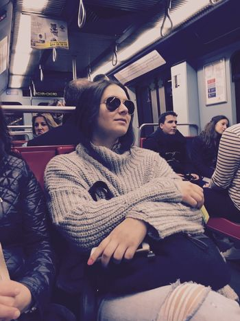 Sitting Casual Clothing Young Adult Lifestyles Young Women Two People Public Transportation Indoors  Subway Train Togetherness Bonding Women Adults Only Adult People Day Uniqueness