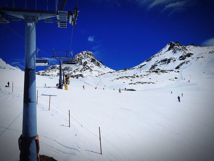 Snow Mountain Winter Sport Skiing Ski Holiday Sky