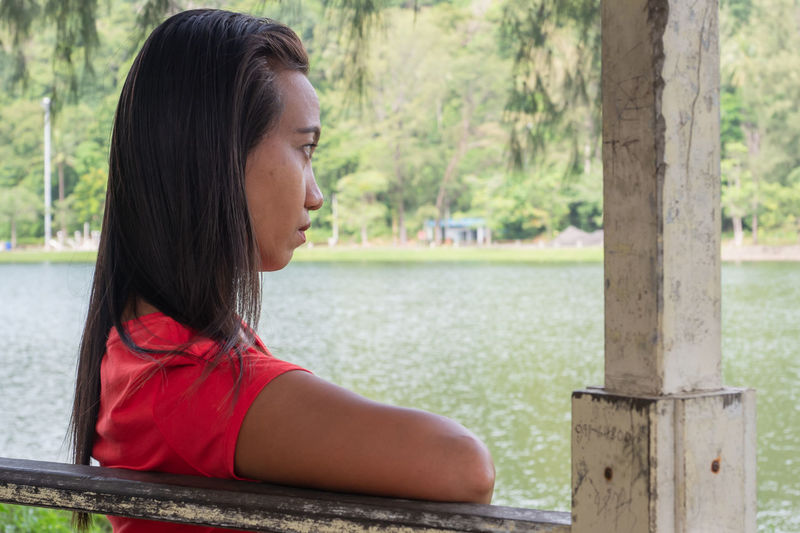 Side view portrait of a young woman