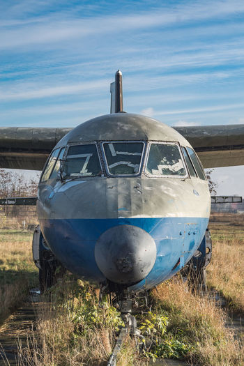 Air Vehicle Airplane Blue Day Field Journey Mode Of Transport Nature No People Outdoors Public Transportation Sky Transportation Travel