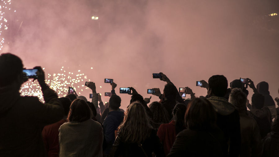 Crowd photographing at night