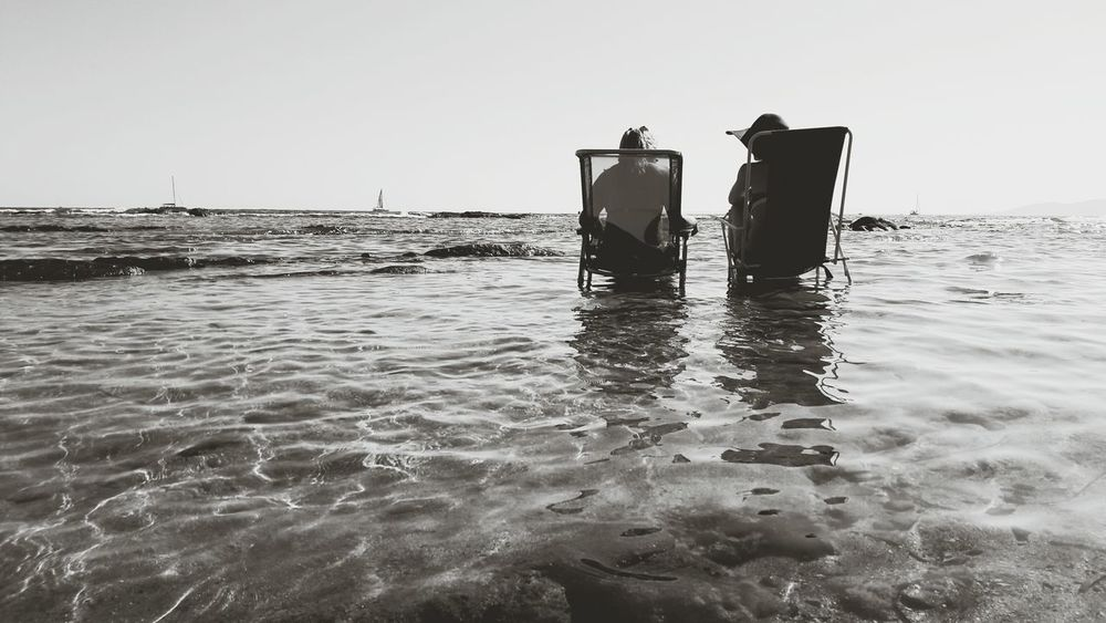 Two Is Better Than One Blackandwhite Black And White Black & White Black&white Black And White Photography Blackandwhite Photography Eyeemphoto Sea Sea And Sky Seascape Sea View Frejus Saintraphael Straphael Saint Raphael Saint Raphael (var 83) St Raphael France Chair Chairs Two Women Two