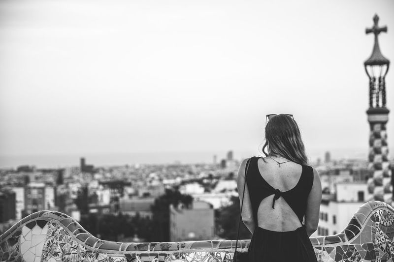 Adult Barcelona Blackandwhite City Cityscape Dress Europe Holiday Leisure Activity One Person Outdoors Portrait Real People Relaxation SPAIN Standing Travel Urban Skyline Women Young Adult Young Women