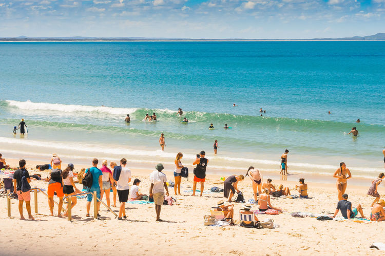 Noosa Main Beach Holiday Noosa Main Beach Beach Beauty In Nature Day Enjoyment Fun Horizon Over Water Large Group Of People Leisure Activity Lifestyles Nature No People Outdoors People Real People Sand Scenics Sea Shore Sky Summer Vacations Water
