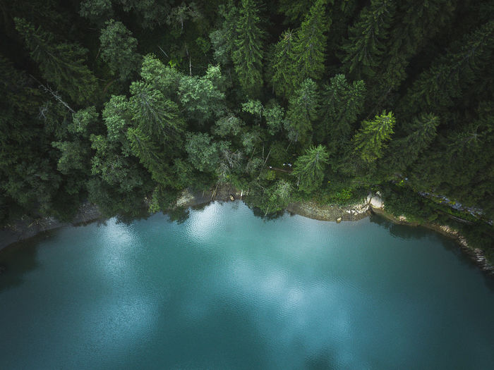 Aerial drone view of blue lakes and green forests. beautiful summer panorama. national park