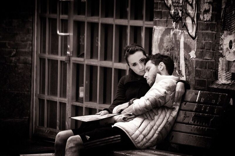 Protecting her man. Couple Protector Woman Man Streetphotography Streetphoto_bw Blackandwhitephotography Blackandwhite Street Bench