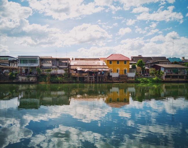 Reflection Home House Patio Terrace Amazing Good Times Happiness Village Clouds And Sky Happy Thailand Relaxing Reflection Reflection Water Architecture Cloud - Sky Vacations Outdoors Travel Destinations Day Sky Nature