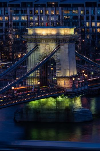 Water under the bridge Lánchíd Hungary Budapest Architecture Transportation Built Structure City Connection Water Building Exterior Illuminated Bridge Bridge - Man Made Structure River Night Travel Destinations Cityscape Outdoors Travel