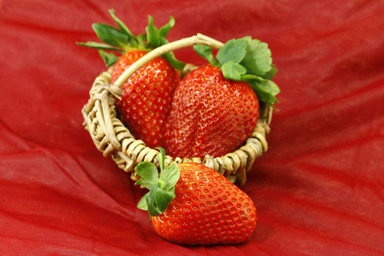 Climate Killers Sustainability Food Healthy Eating Food And Drink Fruit Strawberry Close-up Studio Shot Colored Background Ripe Berry Fruit Red Leaf Basket