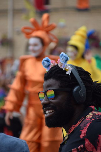 The BBC's Kofi Smiles lives up to his name at Pride In Hull, UK Pride's first ever parade in Hull as part of UK City Of Culture 2017 (22nd July 2017) BBC Hull Hull City Of Culture 2017 Kofi Smiles Rainbow Colors Close-up Day Face Paint Focus On Foreground Fun Halloween Hull 2017 Leisure Activity Lgbt Lgbt Pride Lifestyles Men One Person Outdoors People Performance Pride Parade Rainbow Glasses Real People Stiltwalkers