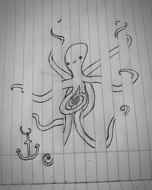 Hope anchors the soul ⚓💗 Sketch Octopus Drawing Black & White Paper Anchor