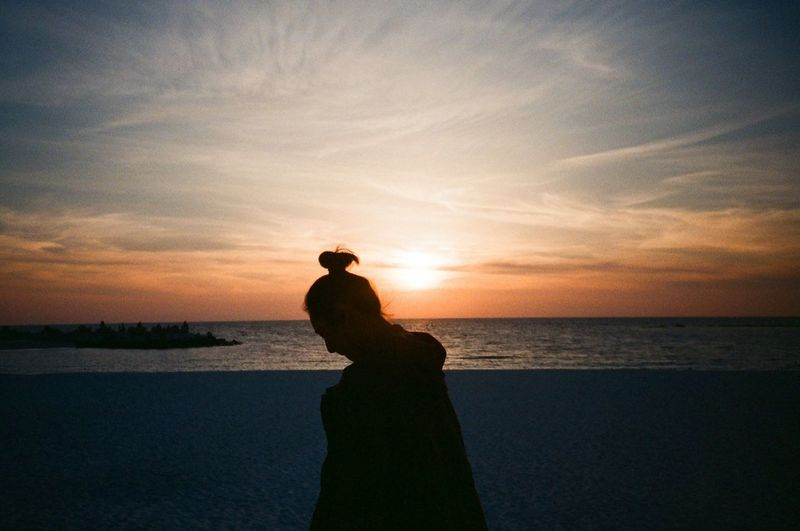 Throwback Stopthetime Greatmemories Remembrance Beautiful Awesome Themoment Girl Hkgirl Sunset Coastalwalk Beach Filmcamera Filmphotography Film Trip Travel Shirahama Japan Sunset Silhouette Sea Beach Horizon Over Water Vacations Scenics Beauty In Nature Sky Nature