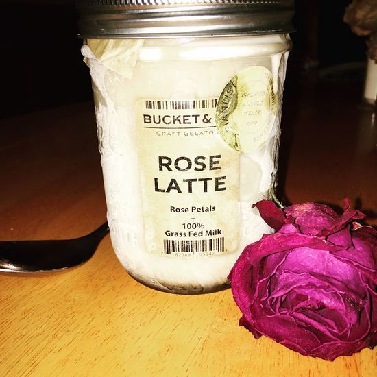 Rose Latte Ice Cream w/ Dried Rose Text Western Script Communication No People Close-up Table Indoors  Food And Drink Day Food Freshness Roses Driedflowers Ice Cream Spoon Masonjar Roseicecream