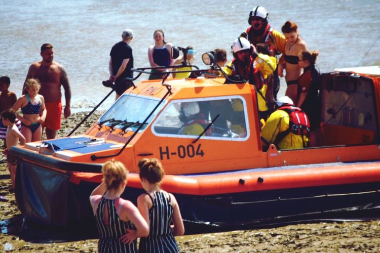 The Photojournalist - 2016 EyeEm Awards A rescue mission of 3 children performed by the RNLI in Essex RNLI Lifeboat RNLI Rescued Rescue Team Tide Coming In