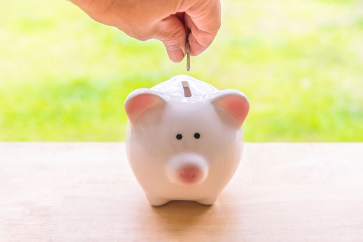 Cropped Hand Of Man Putting Coin In Piggy Bank On Table