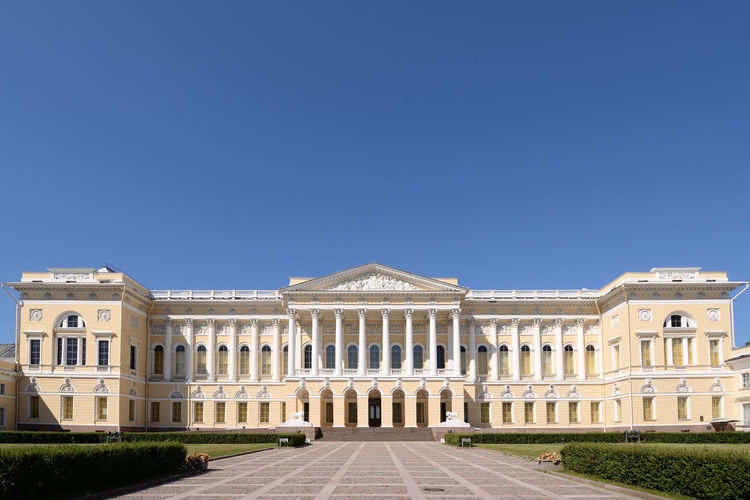 Facade of building against blue sky