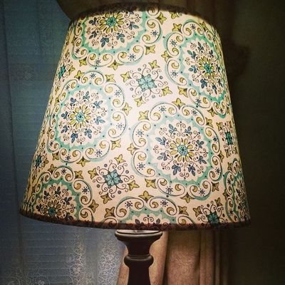Lamp shade 1 done. Love the look.