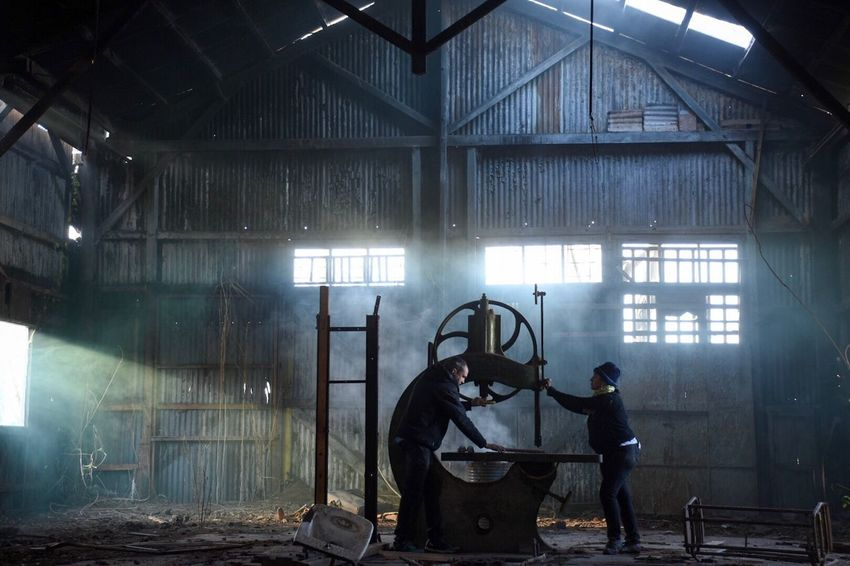 Abandoned Places Factory Indoors  Industry Two People Real People Metal Industry Warehouse Built Structure Men Working Occupation Protective Workwear Only Men Adult Day People Adults Only Steel Worker Deterioration Damaged Abandoned Bad Condition Architecture