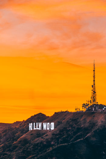 Hollywood Sunset Sunset Sky Orange Color Built Structure Architecture No People Cloud - Sky Nature Building Exterior Tower Scenics - Nature Beauty In Nature Communication Environment Travel Destinations Tourism Outdoors Mountain Landscape Tall - High Holland Hollywood Sign Hollywood - California Sunset_collection Yellow Orange Sky SoCal California Structure Hill Hills Valley Nature Scenics