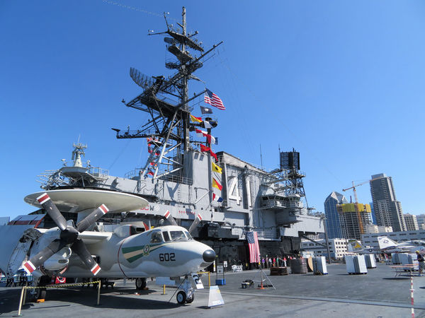 San Diego Aircraft Carrier Museum USS Midway  Aircraft Aircraft Carrier Airplane America Clear Sky Day Military Mobile Photography Outdoors Radar Transportation
