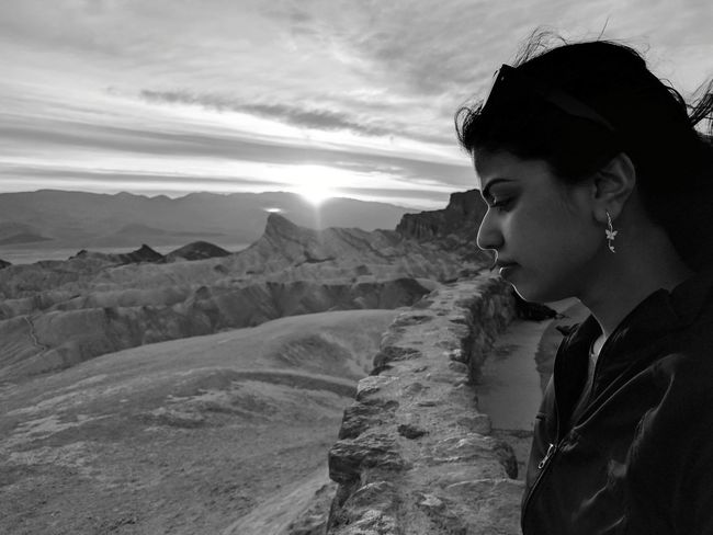 Death Valley National Park California Summer Iconic Landscape Sunset Only Women One Person One Woman Only Travel Vacations People Landscape Young Adult Headshot Adults Only Travel Destinations Outdoors Side View Nature Beauty Adventure Cloud - Sky Black And White
