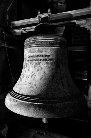 Church Bell Church Bells Kirchenglocke Religion And Tradition Black And White Church Bell For Whom The Bell Tolls Glocke Indoors  No People Religion