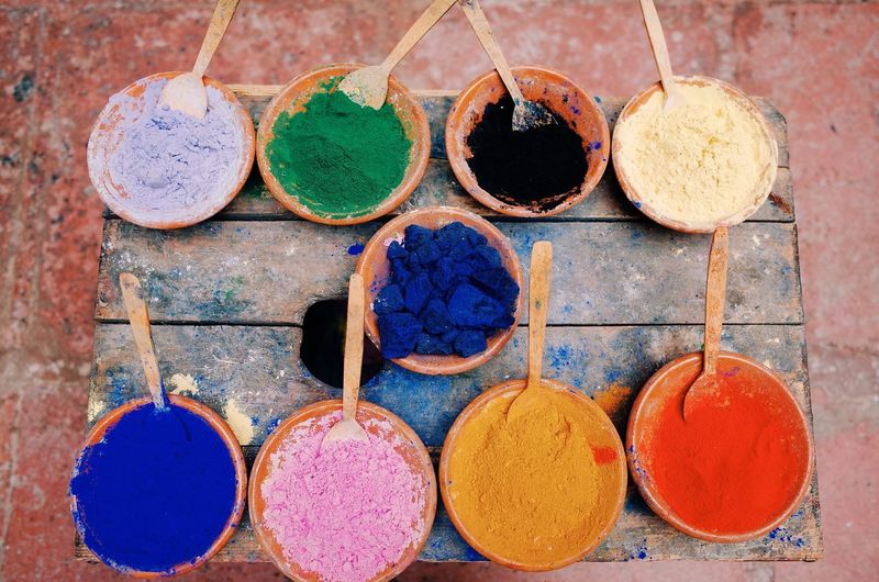 Variation Multi Colored No People Day Outdoors Close-up Powder Paint Traveling Culture Morocco Colorful Colour Of Life Colors Tradition Painting