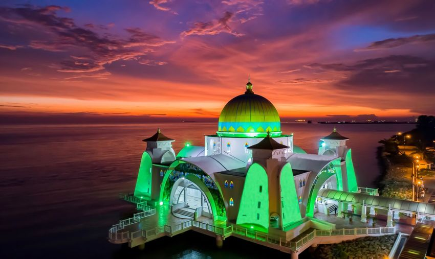 Selat Mosque at Malacca Malaysia Golden Hour Magic Hour Mosque Mosque Architecture Masjid Selat Sunset Religion Sky Spirituality Cloud - Sky Dome Place Of Worship Travel Destinations Architecture Building Exterior Outdoors Built Structure Horizon Over Water Nature Beauty In Nature Water Sea