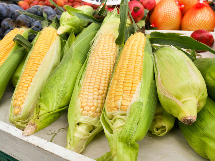Ears of corn, still in husks, displayed for sale. Food Still Life Market Corn Yellow Agriculture Organic Vegetarian Food Freshness Vegetable Healthy Eating Raw Food Wellbeing Fresh Picked Green Color Sweetcorn Corn On The Cob Corn - Crop