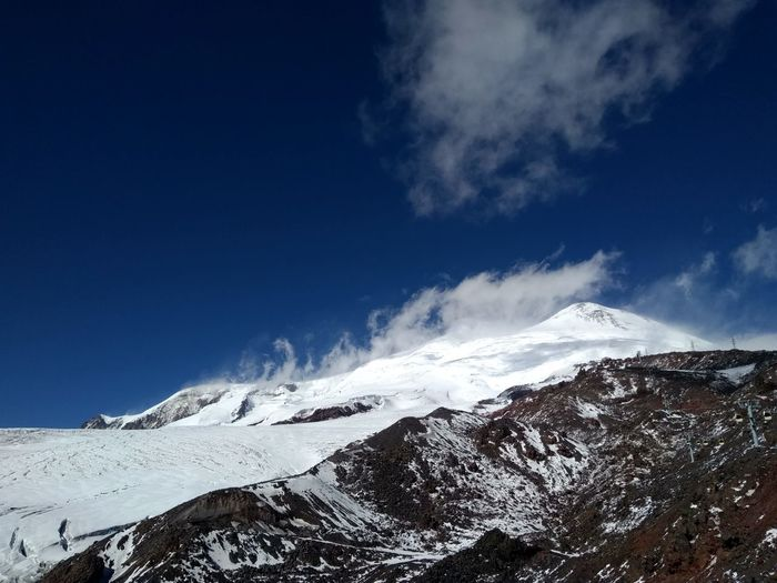 Elbrus Alpine Climbing Power In Nature Mountain Wave Motion Blue Extreme Sports Sky Snowcapped Mountain Rocky Mountains Mountain Peak Snow Physical Geography Mountain Range Rock Formation Ski Track Force Mountain Ridge Deep Snow