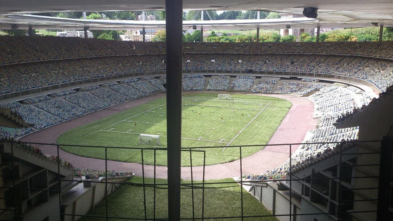 high angle view, day, architecture, no people, sport, stadium, indoors