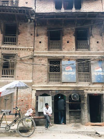 Building Exterior Architecture Men Real People People Nepal Kathmandu Street Snapshots Of Life Carved Wood