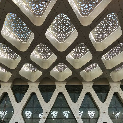 Airport Architectural Feature Architecture Art And Craft Backgrounds Building Built Structure Ceiling Craft Creativity Day Design Floral Pattern Full Frame Indoors  Lighting Equipment Low Angle View No People Ornate Pattern Religion Travel Destinations White Color