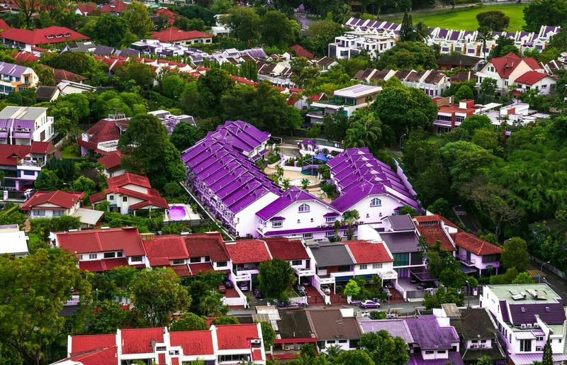 Aerial View Of Residential Area Of Town