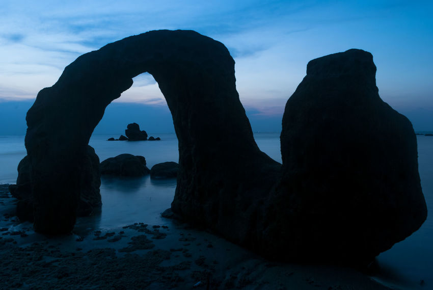 Perforated stone Beach Beauty In Nature Blue Cloud Cloud - Sky Horizon Over Water Long Exposure Longexposure Nature Reflection Rock Rock - Object Rock Formation The Great Outdoors - 2016 EyeEm Awards Sea Showcase April Silhouette Sky Stone Sunset Tranquility Water Blue Wave My Favorite Photo The Great Outdoors With Adobe