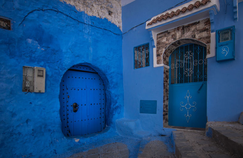 Contrast Architecture Beautiful Blue Building Chefchaouen Light Old Street Travel White Architecture Art Blue Building Exterior Built Structure City Culture Day Door Doors Morocco No People Outdoors