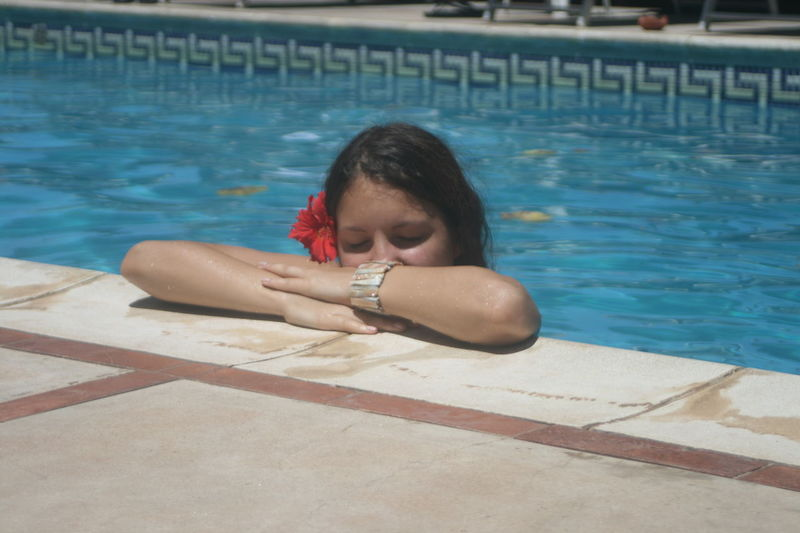 Close Eyes Hibiscus Pool Poolside Sleep Tropical Young Women The Essence Of Summer Girl Closed Eyes Pool Time