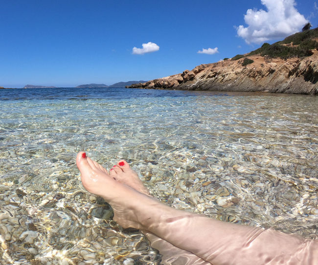 barefoot Beauty In Nature Body Part Day Human Body Part Human Foot Human Leg Leisure Activity Lifestyles Low Section Nature One Person Outdoors Personal Perspective Real People Scenics - Nature Sea Sky Tranquil Scene Tranquility Water