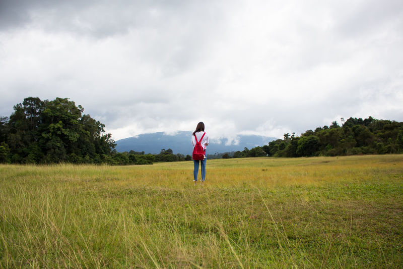 Full Length Cloud - Sky One Person Standing Only Men Field People One Man Only Outdoors Sky Playing Adults Only Day Tree Adult Nature Grass Kaoyai Travel Photography Thailand Thailand_allshots_nature Beauty In Nature Lost In The Landscape Landscape EyeEm Best Shots