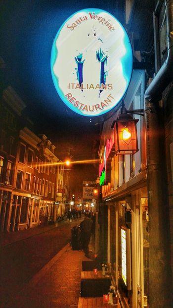 Night Illuminated No People Architecture Outdoors City Amsterdam Italian Street Lamp Buildinds Lights Restaurant Nederland