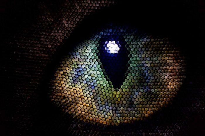 Multi Colored Close-up Pixelated Cat Cat Eye Illuminated Textured  Straws Strawcamera Eye Circles Abstract Pattern