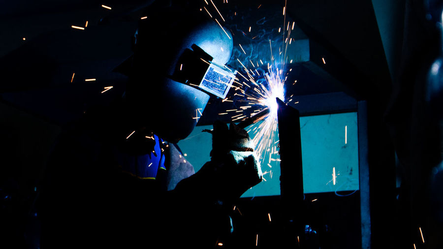 Welding Working Close-up Indoors  Men Metal Industry People Portrait Welder