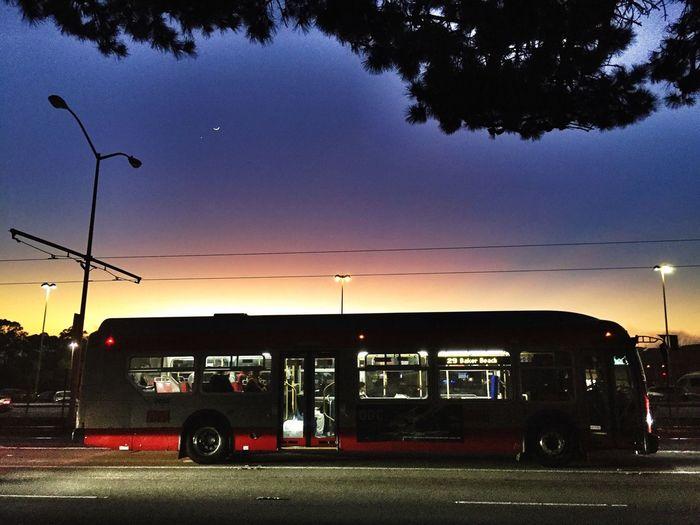 Public Transportation Hybrid Bus MUNI Urban Landscape Sunset Silhouettes