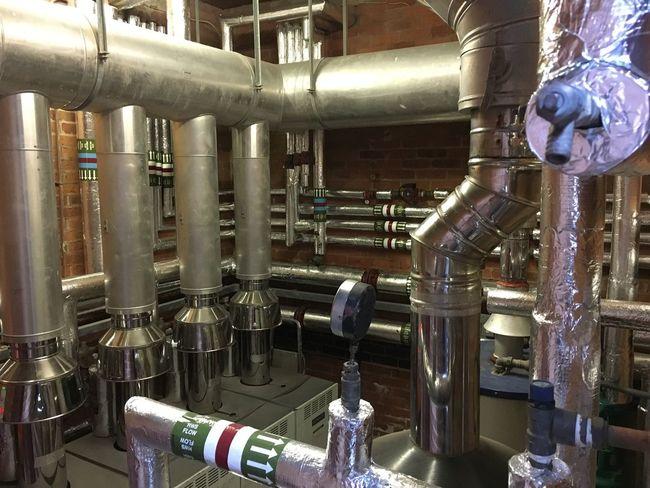 Pipe - Tube Pipeline Industry Metal Heating Plant Room Boiler Room Flow  Pipes No People Indoors  Day Guage Pressure Gauge